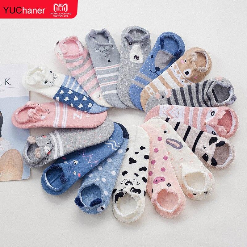 Korean Female Kawaii 3D Harajuku Animal Casual  Print Pink Pig/Dog/Cat Summer Chaussettes Cotton Shirt Cute Funny Socks Women