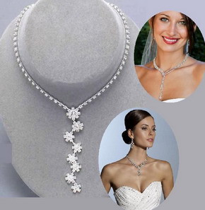 Fashion Silver Tone Crystal Tennis Choker Necklace Set Earrings Factory Price Wedding Bridal Bridesmaid African Jewelry Sets 13