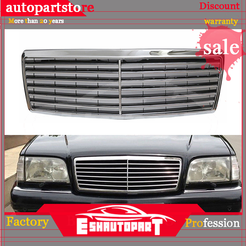Chrome Front Hood Bumper Grill Grille for <font><b>Mercedes</b></font> for <font><b>Benz</b></font> <font><b>W140</b></font> S Class 1994-1999 Bumpers Auto Replacement Parts image