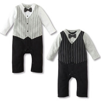 Lovely Kids Baby Boy Romper Formal Party Strip Cotton Bow Tie Jumpsuit