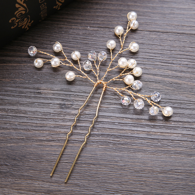 Shiny Wedding Hairpins Gold Silver Crystal Pearl  Bride Hair Sticks Queen Jewelry Ornaments Handmade Hair Fork Hair Accessories