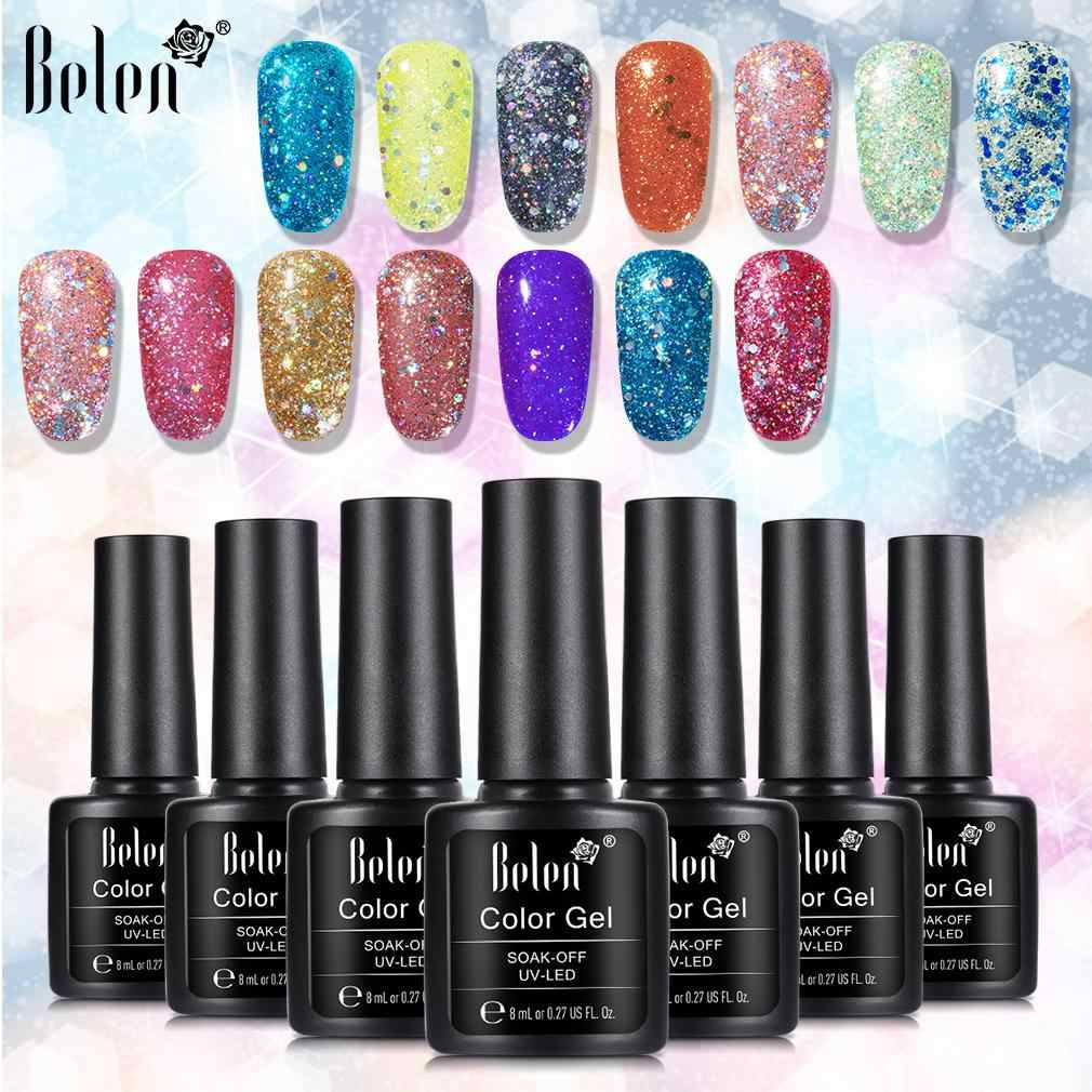 Belen Berlian Glitter Profesional UV Nail Gel Polish 8 Ml Rendam Off Sequins8 Tahan Lama Bling Varnish Manicure Seni alat Primer