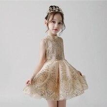 С цветочным узором для девочек, платье на свадьбу, платье с пайетками с кружевом детское платье для девочки, держащей букет Вечеринка платье принцессы для дня рождения для детей, праздничное платье для первого причастия, E43