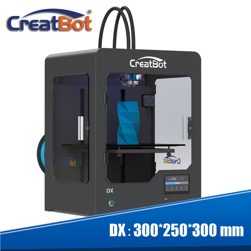 Impresora profesional OEM 3d utiliza PLA, ABS, PC, fibra de carbono, nailon, material de plástico de 3d impresora 300x250x300mm creatbot serie dx