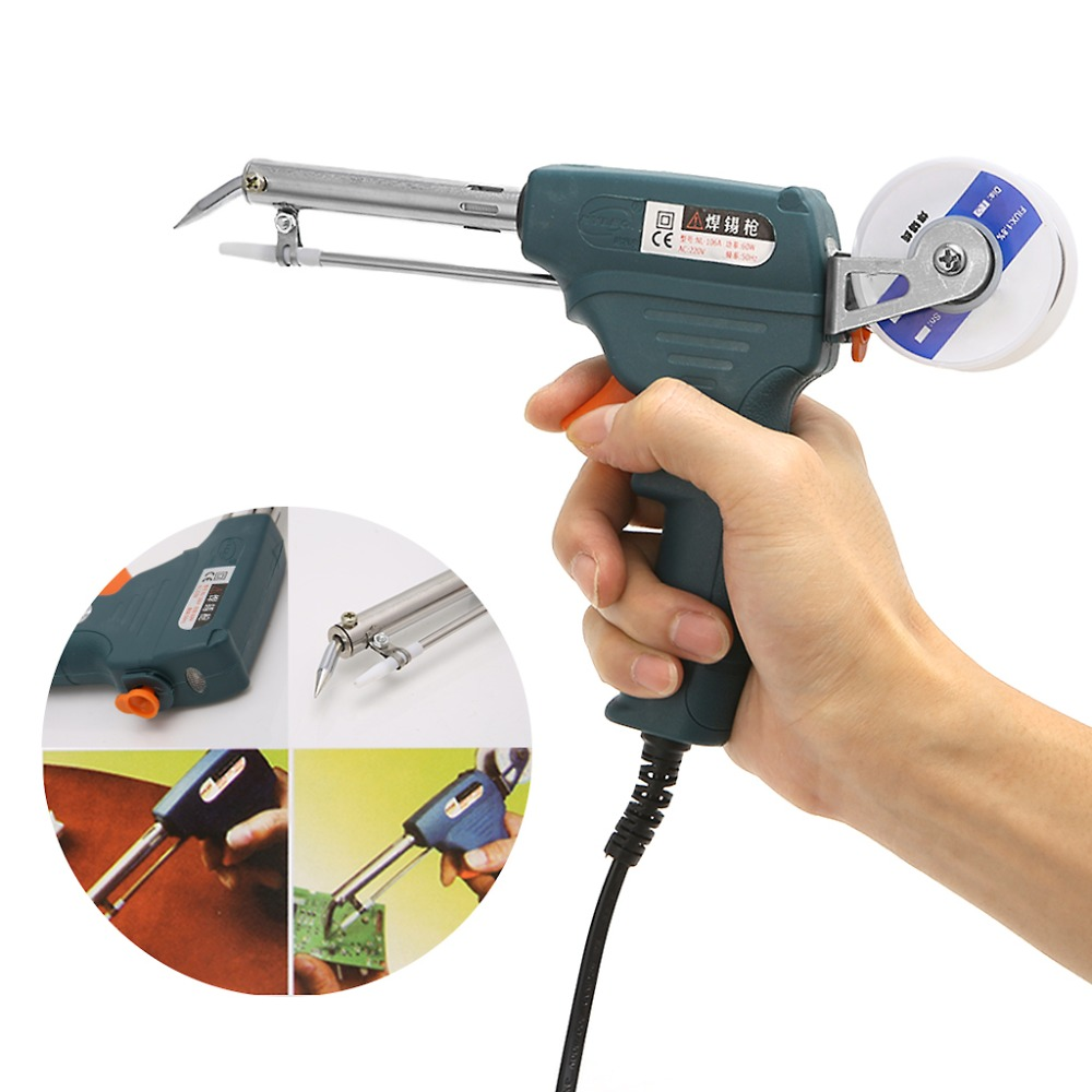220V 60W Auto Welding Electric Soldering Iron Temperature Gun Solder Tool Kit US Plug Welding Equipment in Electric Soldering Irons from Tools