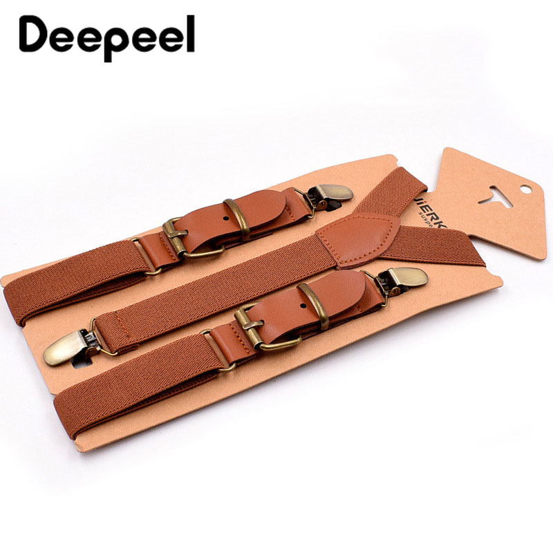 Deepeel 1pc 2.5X75cm Retro Children's Suspenders 3 Clip Strap Braces For Trousers Pu Leather Suspenders Leather Decoration SP010