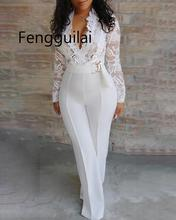 FENGGUILAI Women Sexy Elegant Overalls Rompers Patchwork Jumpsuit Female Long Sleeve Lace Overall Trousers Party Playsuit