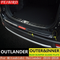 304 Stainless Steel Internal external Rear bumper Protector Sill For Mitsubishi Outlander 2016 2017 2018 Auto parts