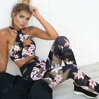 Women S Fitness Suits Crop Tank Workout Floral Printed Top And Legging Pants 2 Pieces Set