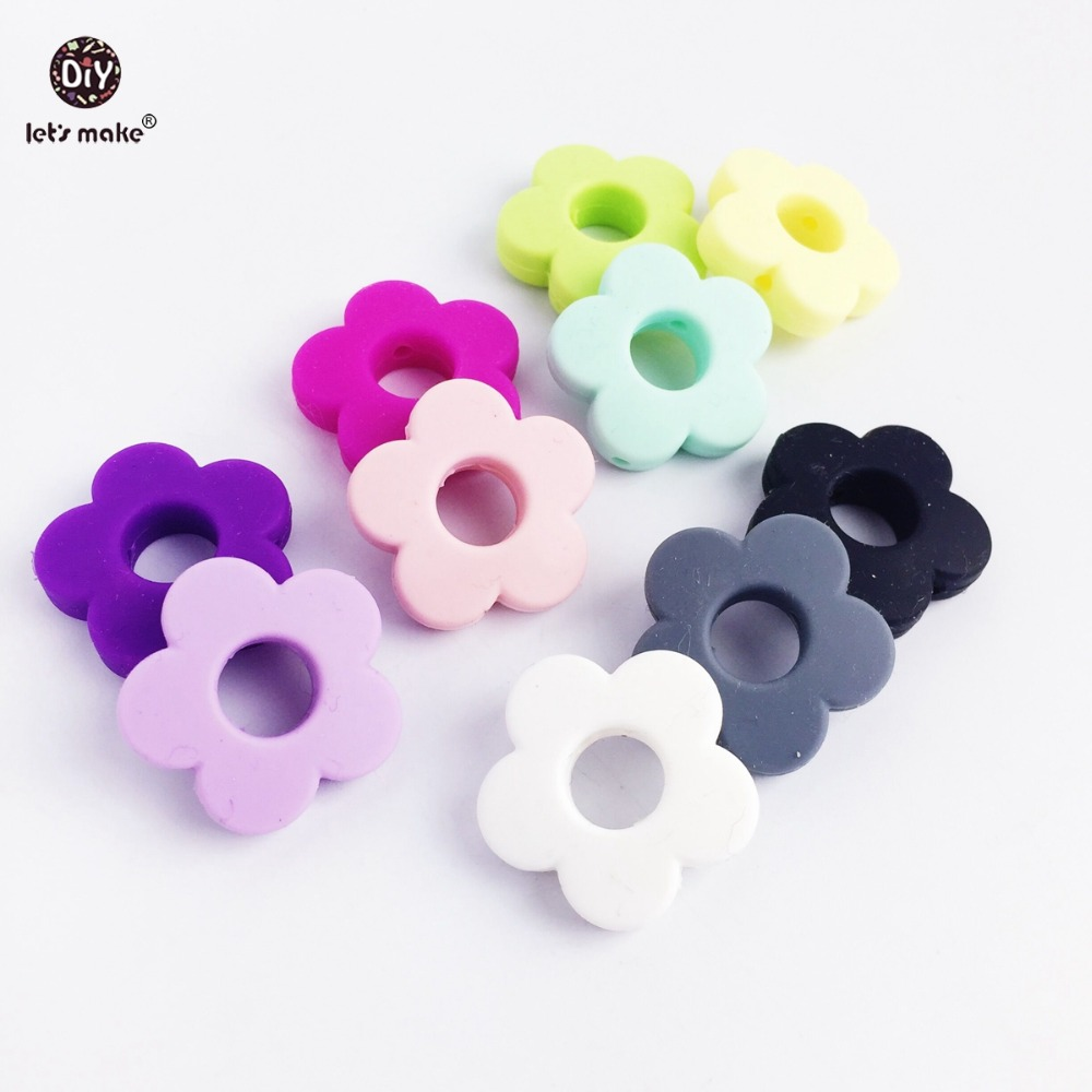 Let's Make Silicone Beads Flower Holes 50pc Silicone Flower Small 2.5cm DIY Crafts Teething Beads Candy Color Diy Making Beads