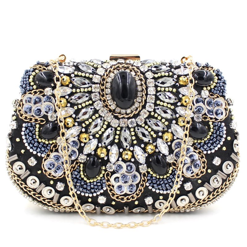 Full of diamond luxury classic black stones beaded evening bags party clutch mini chain shoulder bag ladies handbag gift purse  luxury fashion flower diamond party pu leather female ladies chain purse evening bag clutch bag mini shoulder bag handbag flap