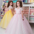 Vintage Flower Girl Dresses For Weddings Short Sleeves Pink Yellow Tulle Ball Gown Girls Pageant Gown Prom Dresses for Kids 2017