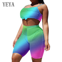 YEYA Romper Vintage Two Piece Set Sexy Bodycon Jumpsuit Women Summer Off Shoulder Sleeveless Grid Casual Sporting Playsuits