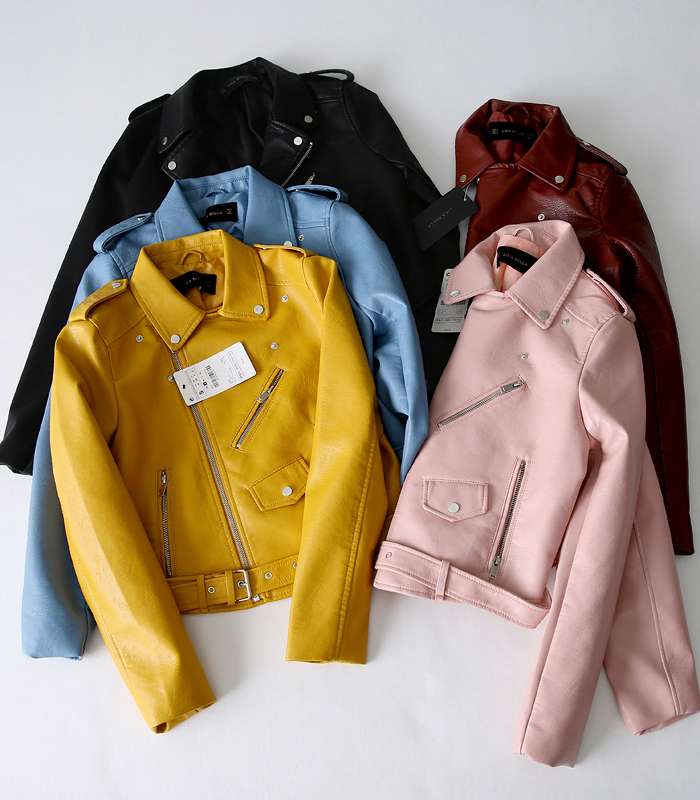 Womens ZA Classic Leather Coat Long Sleeved Yellow PU Coat 5 Color Outerwear