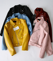 Women's ZA Classic Leather Jacket Coat Long Sleeved Yellow PU Coat 5 Color Outerwear