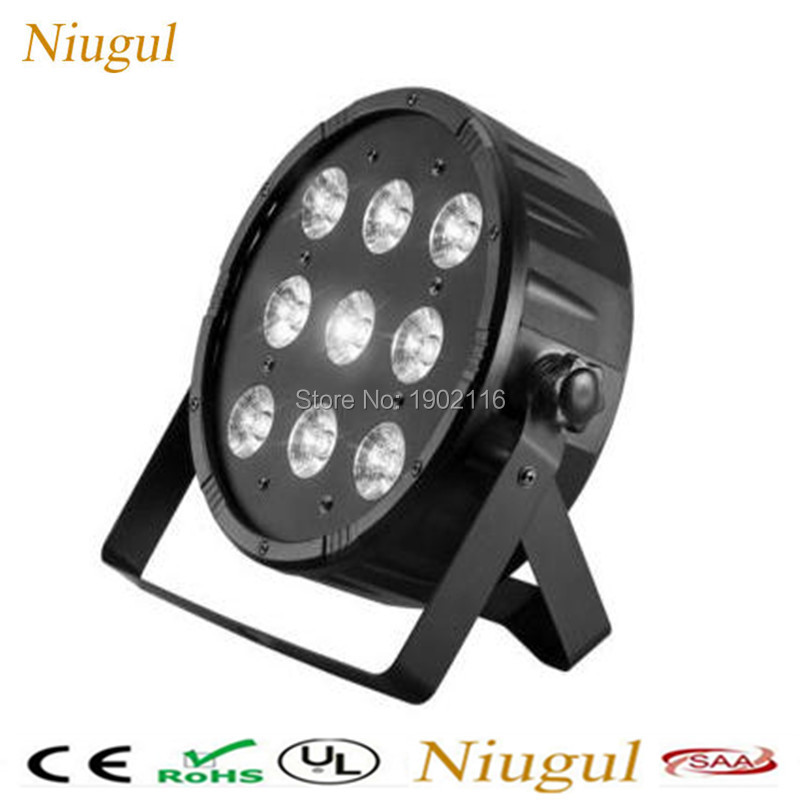 10pcs/lot 9x 12W LED Flat Par RGBW DMX Stage Lights Business Light High Power Light with Professional for Party KTV Disco DJ Bar 6 pcs lot led par 18x12w rgbw light dmx stage lights business lights professional flat par can for party ktv disco dj ligthing