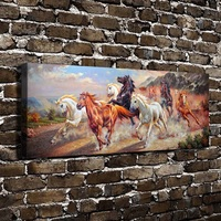 C_X446 Natural Scenery Animals Running Horses. HD Canvas Print Home decoration Living Room bedroom Wall pictures Art painting