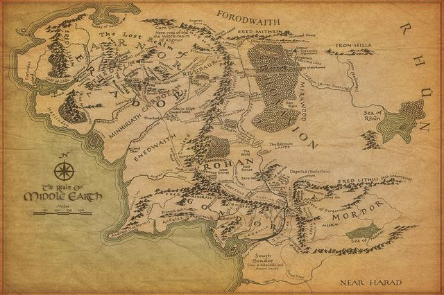Middle Earth Vintage Map Lord Rings Art Wall Frame Posters Print Silk Fabric Home