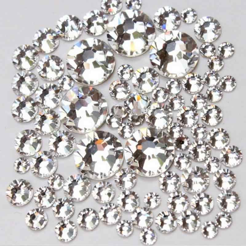 Super Deal Shiny 1440PCS SS3 To SS10 Non Hotfix Glass Rhinestones Clear Crystal For 3D Nail Art Decoration Flatback Strass Stone