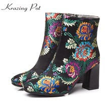 Krazing Pot 2018 vintage silk embroidery thick high heels streetwear round toe winter boots flowers oriental mid-calf boots L1f7