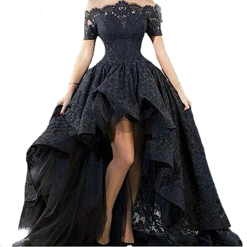 Amazing Hi Lo Gowns Long   Prom     Dress   Boat Neck Off shoulder Lace Maid of Honer Homecoming Cocktail Party   Prom     Dresses  +Real 100%