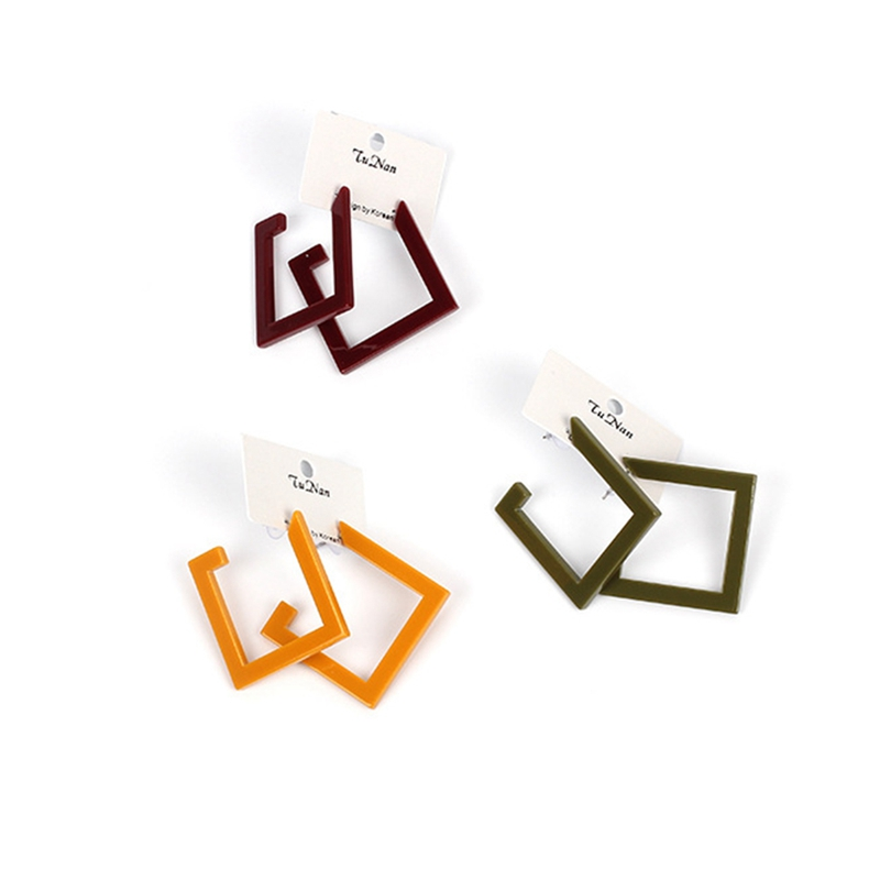 Special Square Acrylic Statement Stud Earring Geometric Statement Fashion Jewelry For Women Trendy Party Earrings Gift