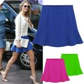 2013 New Fashion Women Skirt Sexy High Waist Short Plain Flared Pleated A-Line Mini Skirt 3Colors Dropshipping