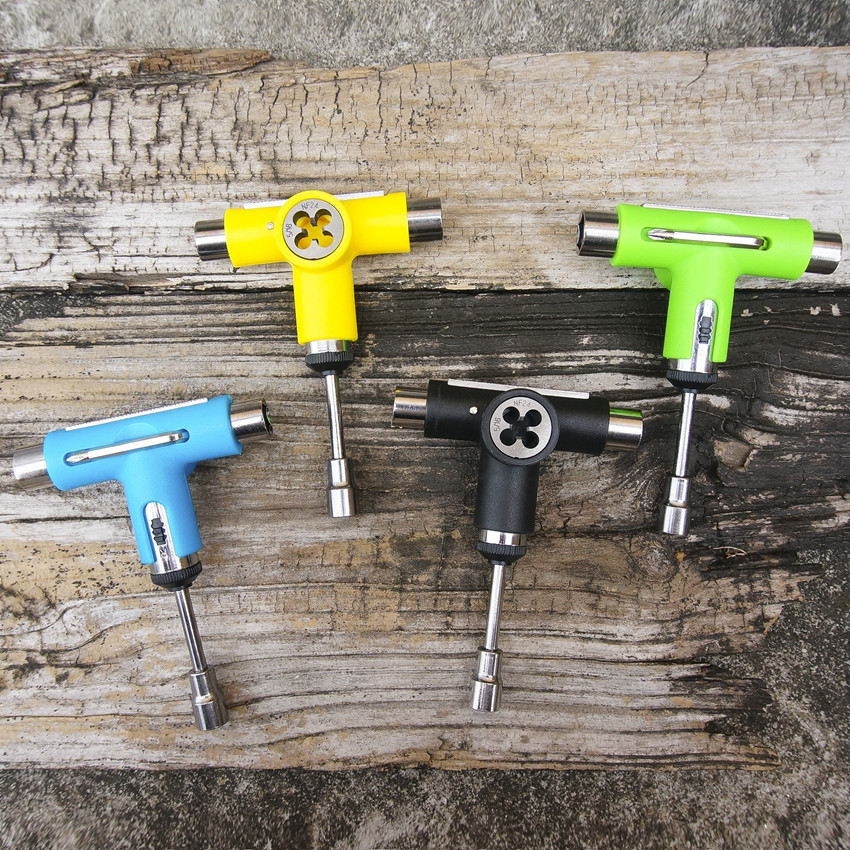 Semi-automatic Multi Founction Skateboard T Tool Made By Metal & Plastic For Skateboard Longboard 3 Size Sockets Installation