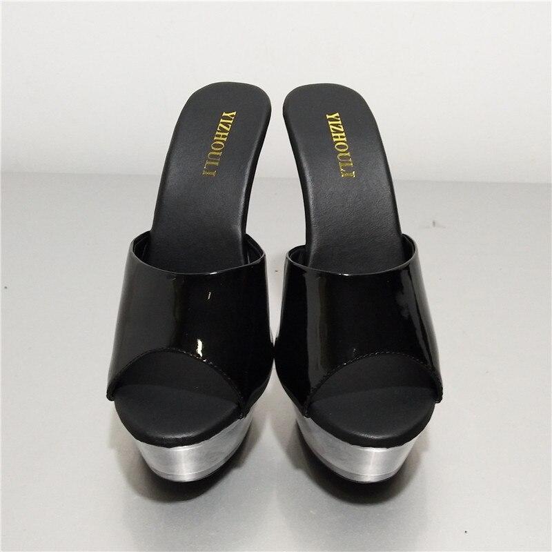 Mujer Cm Noche Zapatillas Sandalias 5 Altos Cadena Verano Zapatos 14 Pulgadas Alto Talón Punta Tacones Negro La Abierta Tacón 0dw6Tqxn