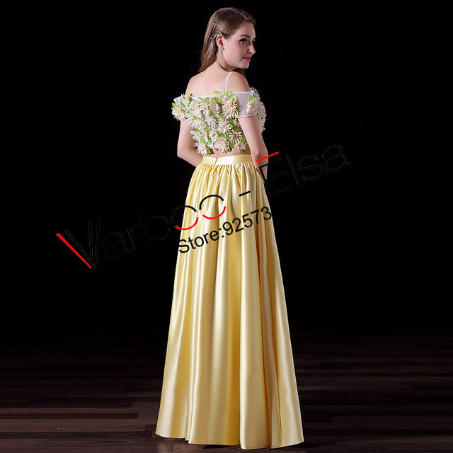 Online Shop Varbooelsa Boho Style Maxi Evening Dress Yellow Satin