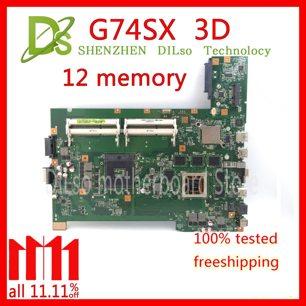 KEFU G74SX motherboard for ASUS G74SX GTX560M 3GB support 3D connector 12 Memory's laptop motherboard цена