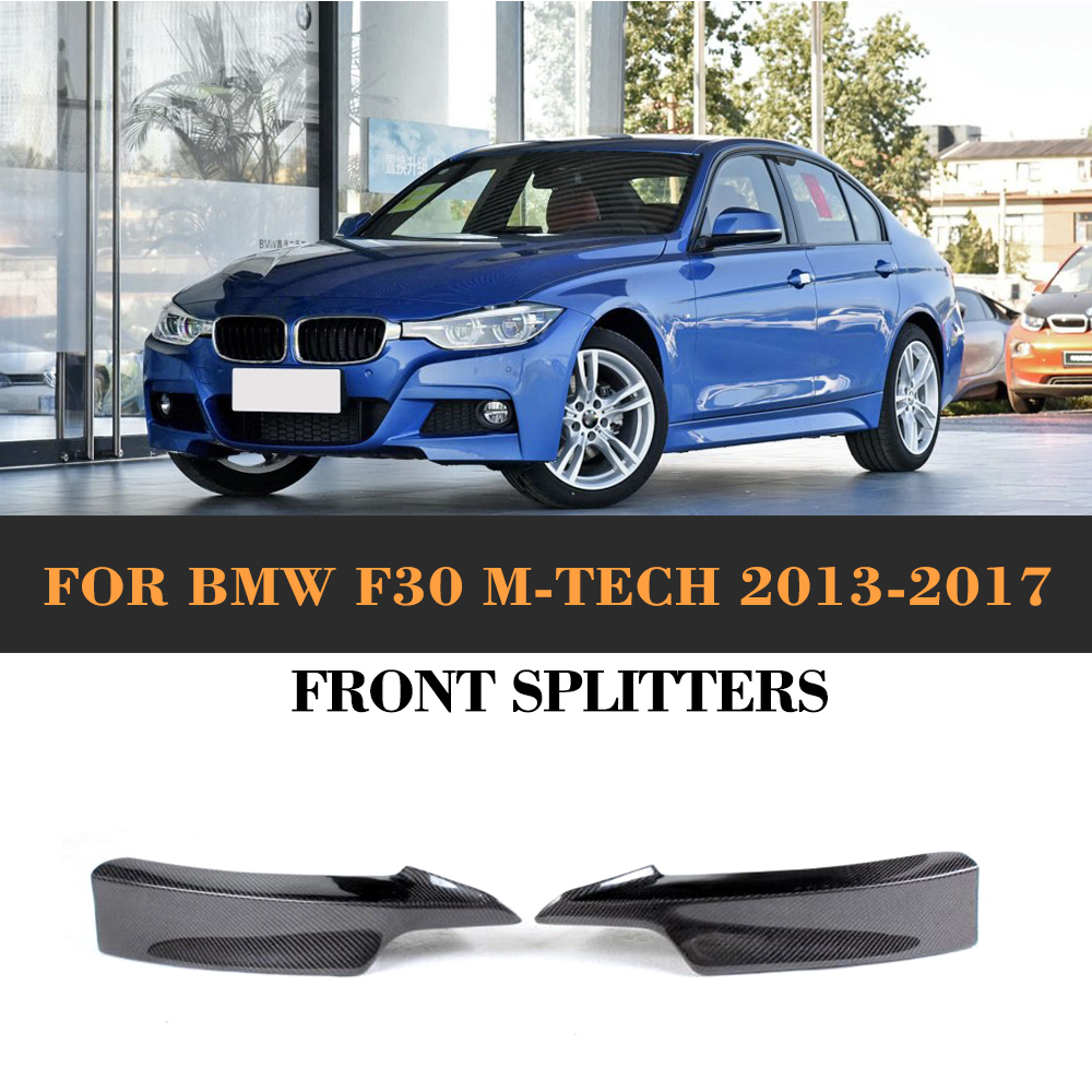 3 Series Carbon Fiber Front Bumper Splitters Lip Flaps Cupwings for BMW F30 M Sport Sedan 4 Door 13-17 320i 325i 328i 335i 2PC carbon fiber rear spoiler trunk boot lip wing for bmw 3 series f30 320i 325i 328i 335i sedan 4 door 2013 2016 car tuning parts