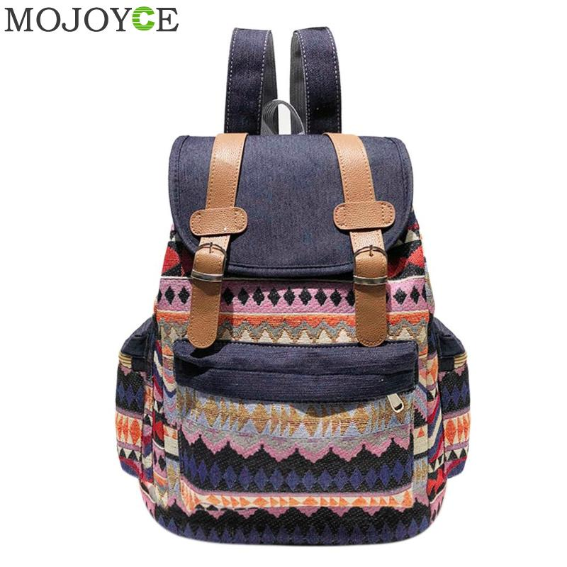 Casual Backpack For Women Drawstring Design Canavs Backpack Girls Small Bohemian Vintage Printing Ladies Rucksack Sac A Dos