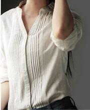 Donne Camicette Donna Camicia a maniche lunghe In Cotone E Lino Delle Donne Del Collare di Usura blusas Più Il Formato Camicetta Camicia 5xl 6xl