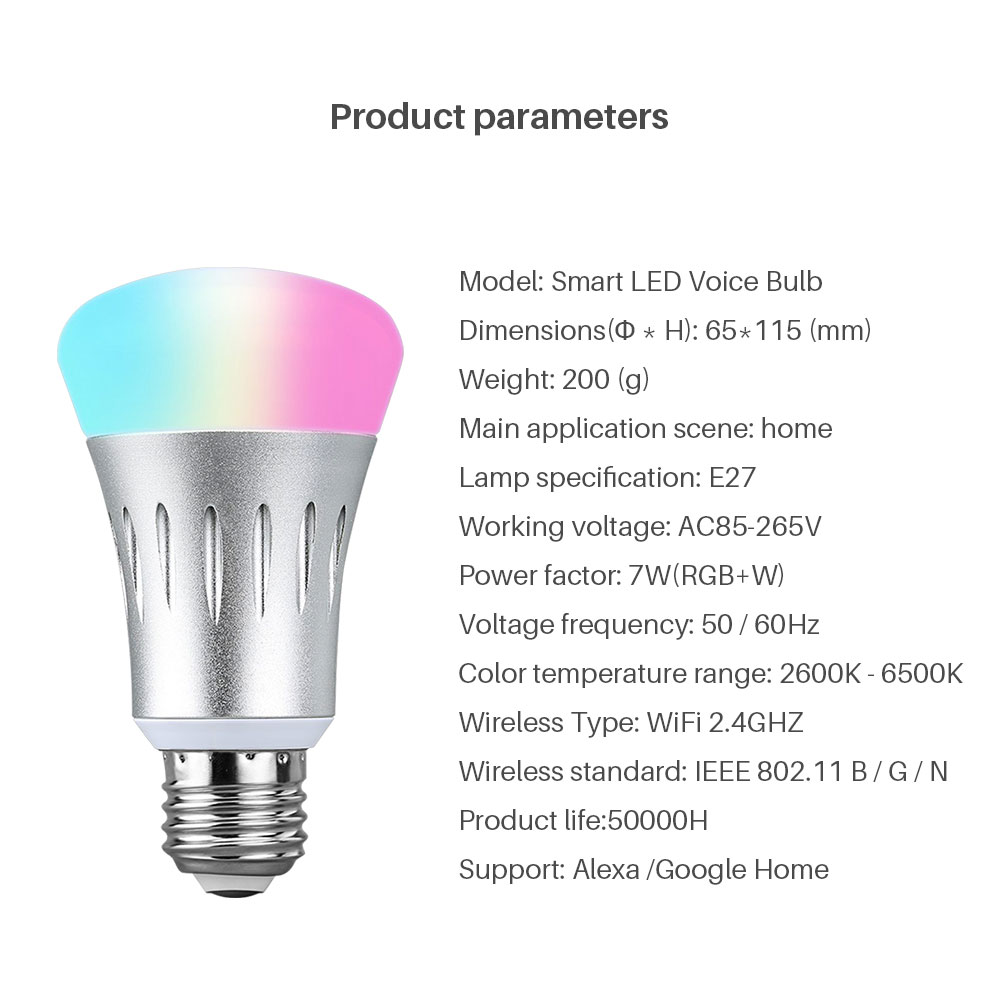 Smart WiFi Light Bulb E27 LED Dimmable Lamp 16 Million Colors App Remote Control Voice Control Works With Google Home Alexa Echo