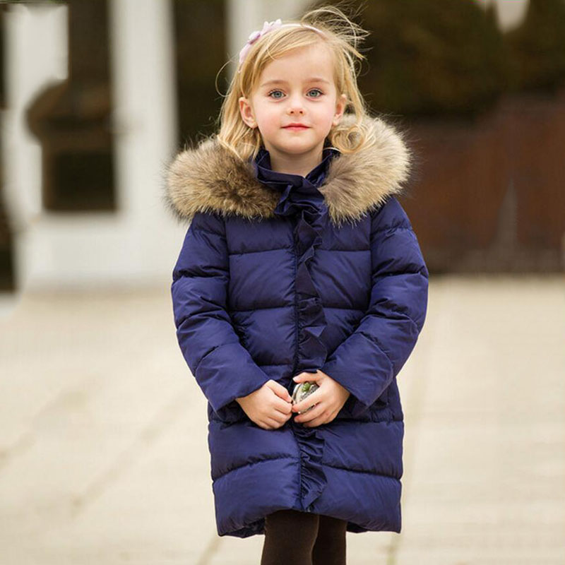 Fashion white duck down children jacket coat raccoon fur hooded collar elegant princess girl winter outwear parkas thick QY-095 цена
