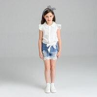 New Arrival 2016 Girls Shorts Set Hot Sale Summer Girls Denim Shorts 2 Pcs Girls Clothing