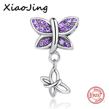 New arrival Fit charms Pandora Bracelets silver 925 purple color cute Butterfly CZ Stone Antique Pendant Jewelry Making Gifts