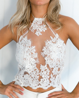 Women Summer Lace Crop Top Sleeveless Floral Embroidery Sexy Hollow Out Halter Camis Tank Top Beach