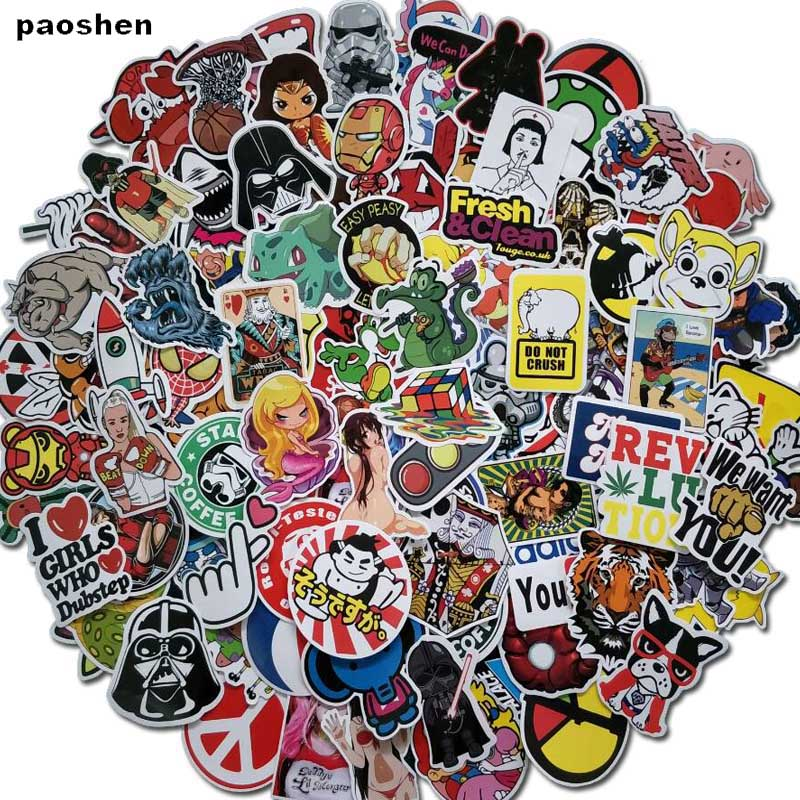 100 PCS Sexy Hybrid Stickers For Laptop Skateboard Luggage Car Styling Bike JDM The Bathroom Graffiti Guitar Diary Stickers