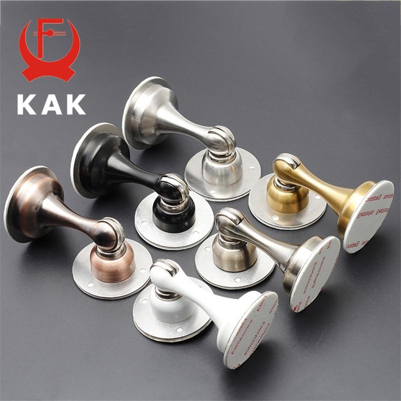KAK Stainless Steel Magnetic Door Stopper Sticker Hidden Door Holders Catch Floor Wall Mounted Nail-free Doorstop Door Hardware