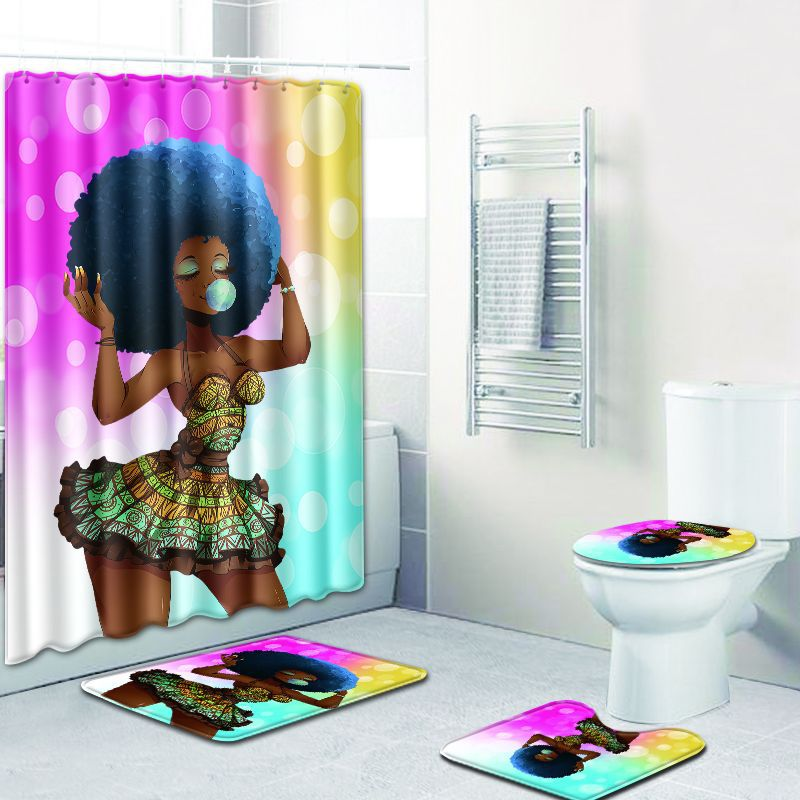 4 piece set bathroom African lady cushion bathroom anti-skid carpet + cover vase cover + bathroom mat base + shower curtain set
