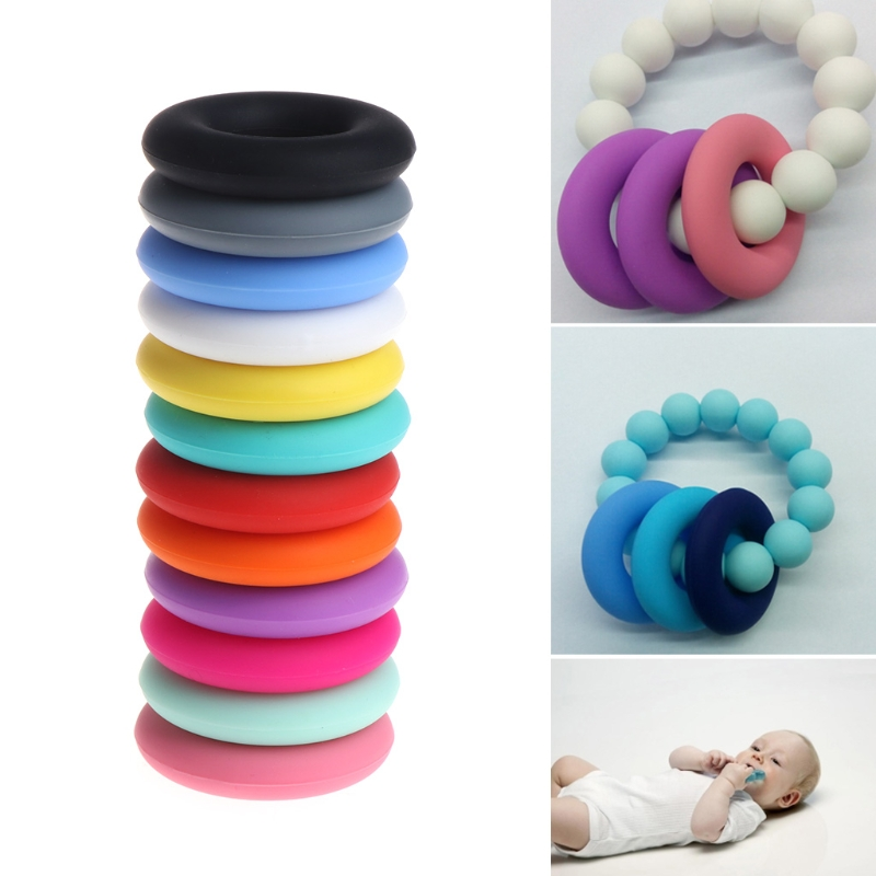 1PC Food Grade Silicone DIY Baby Teething Nursing Necklace Pendan Beads Teether-m35