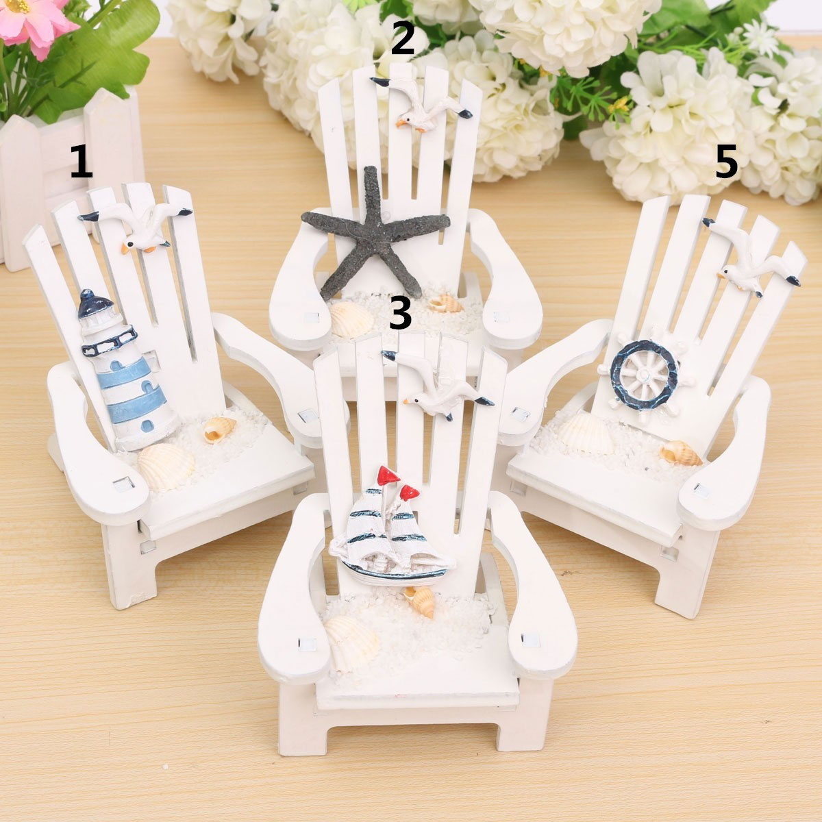 White wooden beach chair - 2016 Mini Wood Beach Chair Nautical Ornaments Mediterranean Style For Home Decoration Fp China