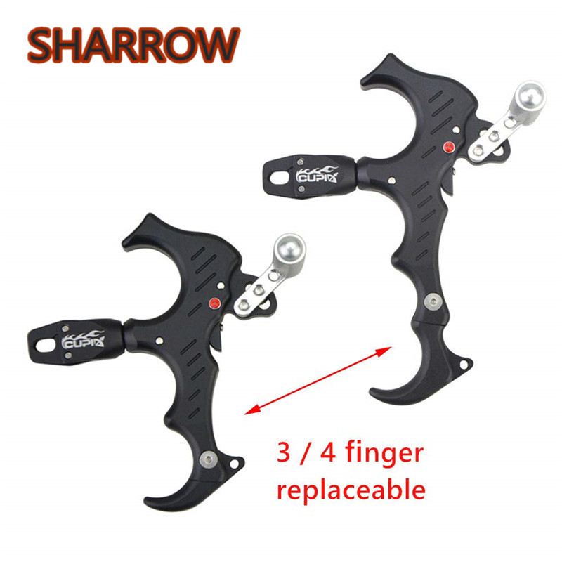 1Pc Archery Bow Release Aids 3 4 Fingers Automatic Close Thumb Release Trigger Caliper Grip 360