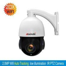 2MP wireless auto tracking PTZ 1080P 20X ZOOM Speed Dome Camera smart home H.264 IP Camera wifi P2P onvif PTZ tracking IP Camera