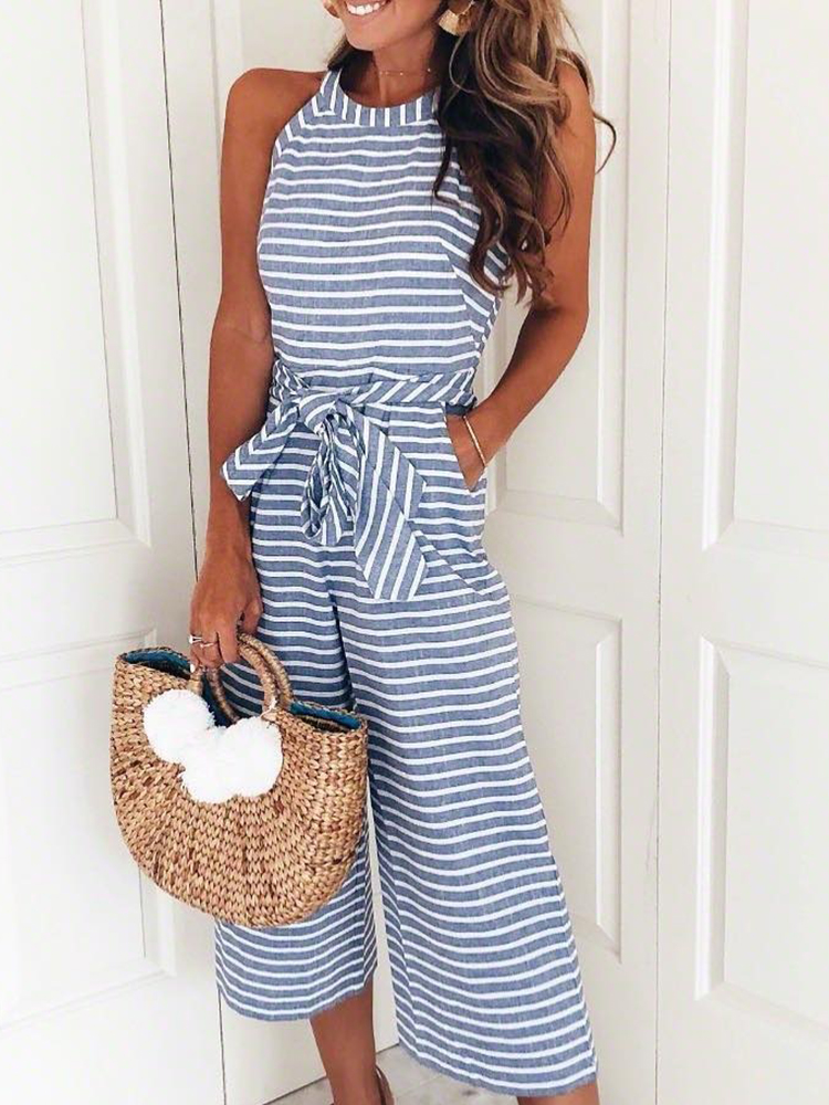2019 Summer Fashion Women Halter Neck Casual Romper Ladies Leisure Overalls Striped Waist Belted Ankle-Length Wide Leg Jumpsuit