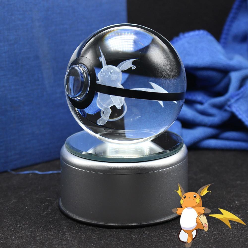 Cute 3D Raichu Design Pokemon Go Crystal Ball Sphere FengShui Glass Ball Home Decoration