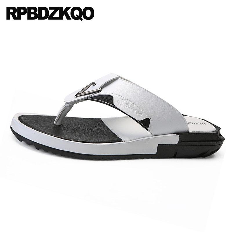 Dos Preto Verão Chinelos Couro Sapatos À Flop Homens Prova D' Água Sandálias Flip Slides branco Grande 45 Alta Moda Tamanho Designer De Qualidade Brancas YIr1qBI