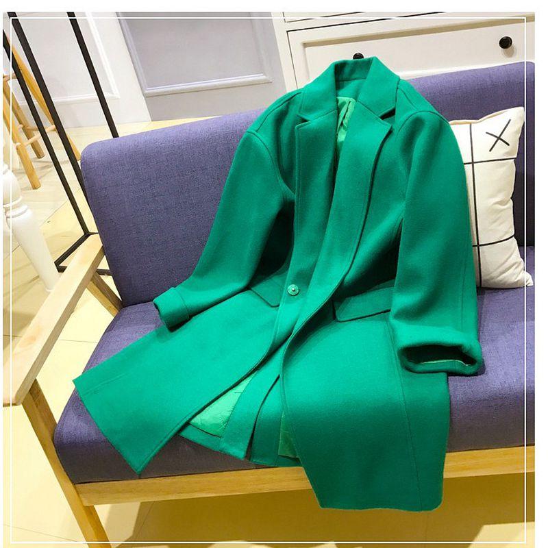 Nzyd563 Mélanges Style Verte xl Mi Mode Lâche long Casual En 2018 Nouveau Green Automne Manteau Hiver Femmes Veste Laine S Femelle Ct4PnwBqH